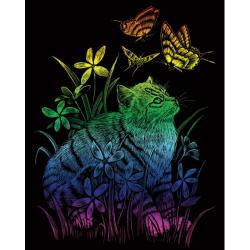 Obrázek Škrabací obrázek- Duhový- Kočka