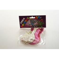 Obrázek Balonky kulatý s potiskem srdce, sada 6 ks , bílá, růžová, červe