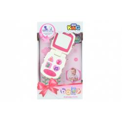 Obrázek Baby telefon růžový na baterie