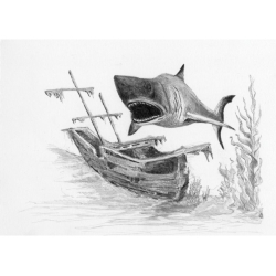 Obrázek Malování SKICOVACÍMI TUŽKAMI-Žralok