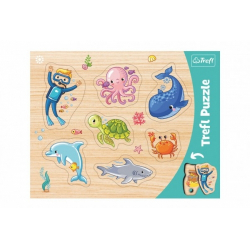 Obrázek Vkládačka/Puzzle deskové obrysové zvířátka mořský svět 37x29cm ve fólii