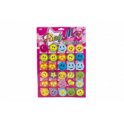 Obrázek Odznak smajlík velký 4,5cm barevný kov/plast 30ks na kartě v sáčku