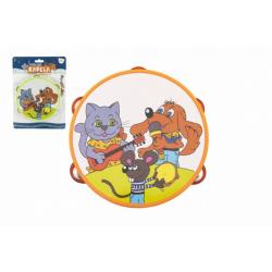 Obrázek Tamburína plast 16cm Zvířátka a jejich kapela 2 barvy na kartě