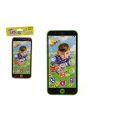 Obrázek Telefon Mobil plast 7x14cm na baterie se zvukem 4 barvy v sáčku