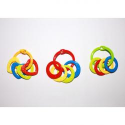 Obrázek Krúžky sa 4 tvary plast srdiečka, kolieska mix farieb v sáčku 3m +