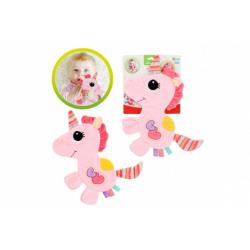 Obrázek Jednorožec 35cm plyš šustící dečka růžová na kartě 0m+