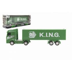 Obrázek Kamion s kontejnerem plast 30cm na setrvačník na baterie se světlem se zvukem v krabici 35x13x9cm