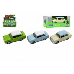 Obrázek Auto Welly Trabant 1:60 kov 7cm - mix farieb voľný chod 36ks v boxe
