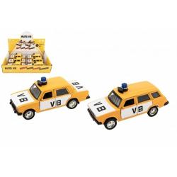 Obrázek Policejní auto VB kov/plast 11,5cm na zpětné natažení na baterie se zvukem 2 druhy 6ks v boxu