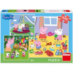 Obrázek Puzzle 3x55 dílků Prasátko Peppa na prázdninách