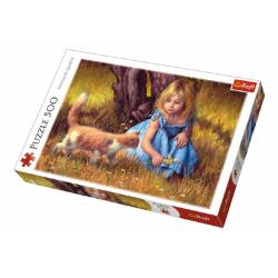 Obrázek Puzzle Holčička s kočkou malované 500 dílků 48x34cm