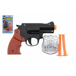 Obrázek Pistole policejní 15cm plast s odznakem + přísavky 2ks na kartě