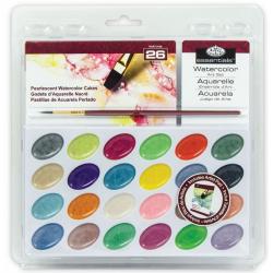 Obrázek ROYAL and LANGNICKEL Akvarelové barvy perleťové 24 ks + štětec a blok akvarelových papírů