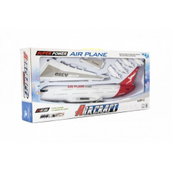 Obrázek Letadlo plast 40cm na setrvačník na baterie se zvukem se světlem v krabici 45x20x7cm