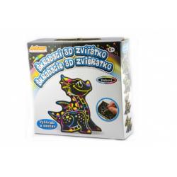 Obrázek Škrabací 3D obrázek duhový drak 12x9cm v krabičce 15x15x4cm