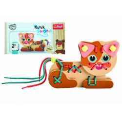 Obrázek Koťátko dřevěná hračka navlékací se šňůrkami v krabičce 19x10x5cm