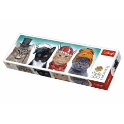 Obrázek Puzzle kočky s čepicemi panorama 500 dílků 66x23,7cm