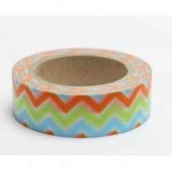 Obrázek Dekoračné lepiaca páska - wash pásky-1ks cikcak modrá, zelená, oranžová