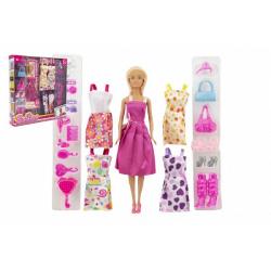 Obrázek Panenka modelka nekloubová plast 30 cm s oblečením s doplňky v krabici 32x33x6cm