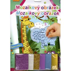 Obrázek Mozaikový obrázek - Žirafa, slon a hrošík