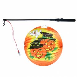 Obrázek Lampion Halloween kulatý - veselé dýně 25 cm