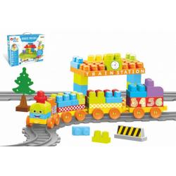 Obrázek Baby Blocks vlak s kolejemi a stavebnicí plast délka dráhy 3,3m s doplňky v krabici 65x36x8cm 12m+
