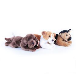 Obrázek plyšový pes 3 druhy ležící se zvukem, jack russel, labrador a německý ovčák,18cm