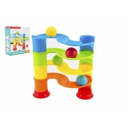 Obrázek Kuličková dráha plast 4 patra s kuličkami v krabici 25x28x11cm 12m+