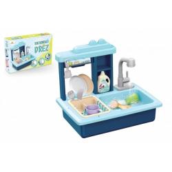 Obrázek Dřez na mytí nádobí modrý + kohoutek na vodu na baterie plast s doplňky v krabici 46x28x12cm