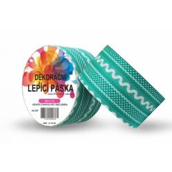 Obrázek Dekorační lepicí páska - DUCT TAPE-1ks tyrkysová krajka