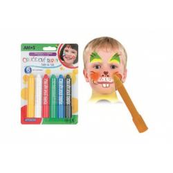 Obrázek Barvy obličejové v tužce 6ks na kartě 14x20cm karneval