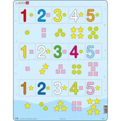 Obrázek Puzzle Čísla 1-5 s grafickými znaky 15 dílků