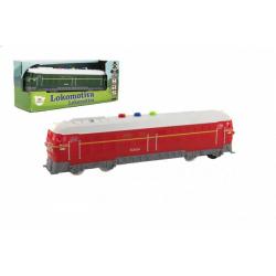 Obrázek Lokomotiva/Vlak plast 23cm na baterie se zvukem se světlem 2 barvy v krabičce 27x11x8cm