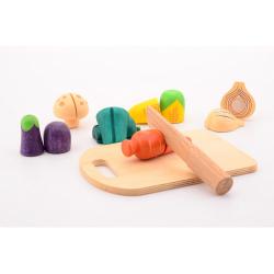 Obrázek Dřevěná zelenina s prkénkem a nožem