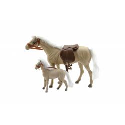 Obrázek Kůň 27cm s hříbětem 13cm fliška 2ks  - 3 barvy