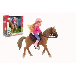 Obrázek Kůň + panenka žokejka plast 20cm v krabici 23x23x9,5cm