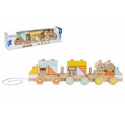 Obrázek Vlak dřevo tahací 21 dílků v krabici 48x12x8,5cm  12m+