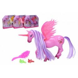 Obrázek Jednorožec/kůň s křídly česací s doplňky plast 20 cm mix barev v krabičce 25x20x5cm