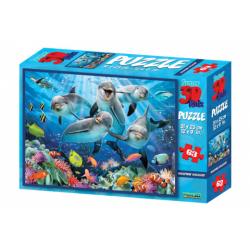 Obrázek 3D Puzzle Delfíny 63 dielikov