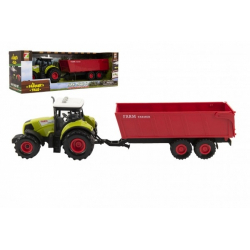 Obrázek Traktor s vlekem plast 35cm na setrvačník na baterie se zvukem se světlem v krabici 39x13x13cm