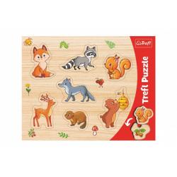 Obrázek Vkládačka/Puzzle deskové obrysové lesní zvířátka 37x29cm ve fólii