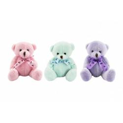 Obrázek Medvídek/medvěd s mašlí sedící plyš 14cm 3 barvy 0+