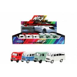 Obrázek Auto Welly Mercedes Benz L319 kov/plast 11cm 4 barvy na zpětné natažení 12ks v boxu