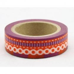 Obrázek Dekorační lepicí páska - WASHI pásky-1ks bordura červená fialová šicí steh