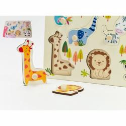 Obrázek Vkládačka/Puzzle deskové obrysové zoo dřevo 30x21cm ve fólii 18m+