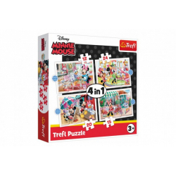 Obrázek Puzzle 4v1 Minnie s přáteli Disney 28,5x20,5cm v krabici 28x28x6cm