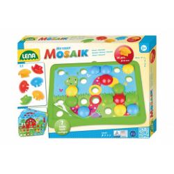 Obrázek Mozaika klobouček příroda 3,2cm hladký 36ks + předlohy 7ks pro nejmenší v krabici 33x24x4cm 24m+