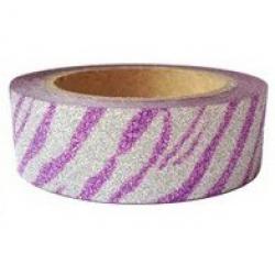 Obrázek Dekorační lepicí páska glitrová - WASHI tape - tygrovaná - fialovostříbrná