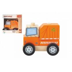 Obrázek Popelářský vůz dřevěná hračka skládací 11cm v krabičce 13x13x9cm 12m+