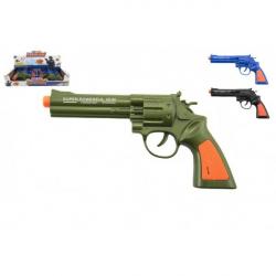 Obrázek Pistole kolt plast 22cm na baterie se zvukem 3 barvy 12 ks v boxu